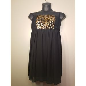 Torrid Black and Gold Sequin Strapless Dress